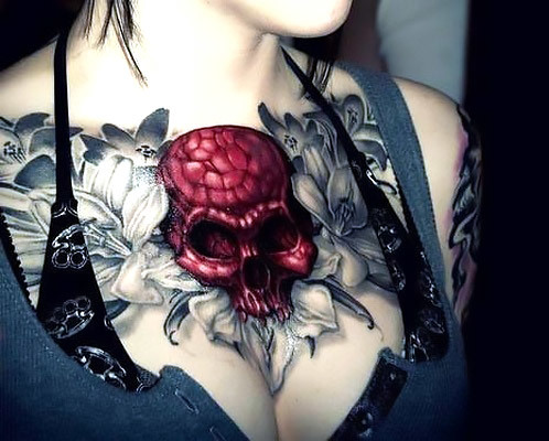 Gothic Skull With Flowers Collar Bone Tattoo Idea