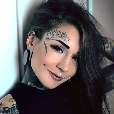 Great Forehead Lettering Monami Frost Tattoo