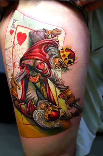 Great Gambling King of Hearts Tattoo Idea