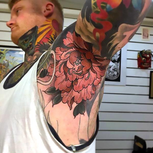 Guys Armpit Peony Tattoo Idea