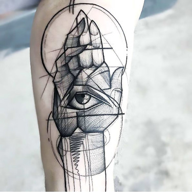 Hand With Eye Tattoo In Sketch Style Tattoo