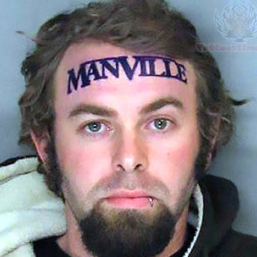 ManVille forehead Tattoo