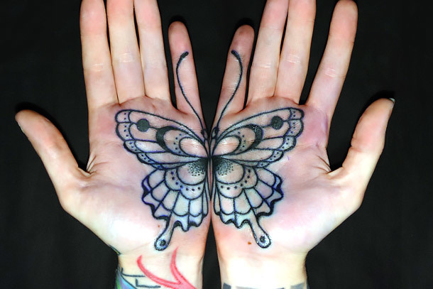 Matching Butterfly Tattoo on Palms Tattoo Idea