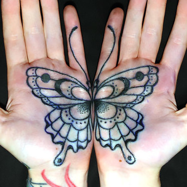 Matching Butterfly Tattoo on Palms Tattoo