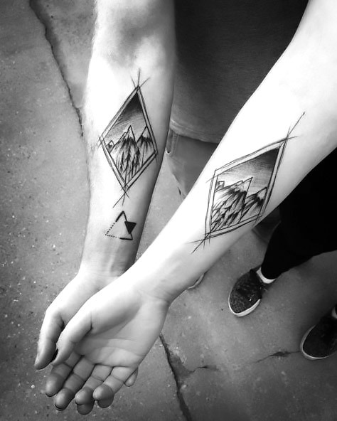 Matching Sketch Style Tattoo for Couples Tattoo Idea