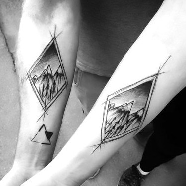 Matching Sketch Style Tattoo for Couples Tattoo