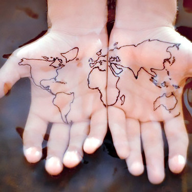 Matching World Map Tattoo on Palms Tattoo