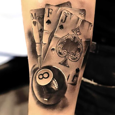 M F J Eight Ball Tattoo