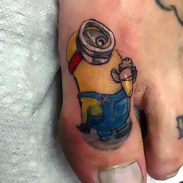 Minion Toe Tattoo