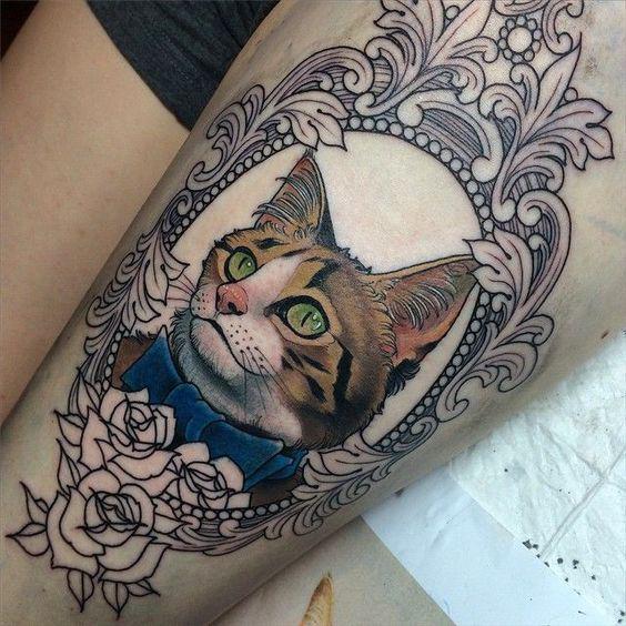 Amazing Cat Portrait Tattoo Idea