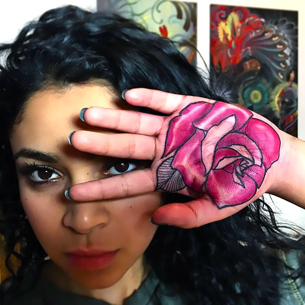 Pink Rose on Palm Tattoo Idea
