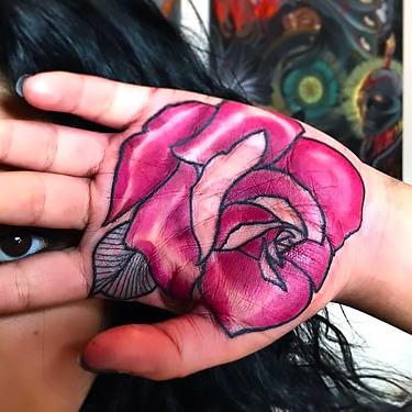 Pink Rose on Palm Tattoo