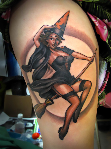Pin Up Witch Girl Tattoo Idea