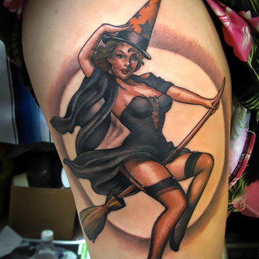 Pin Up Witch Girl Tattoo