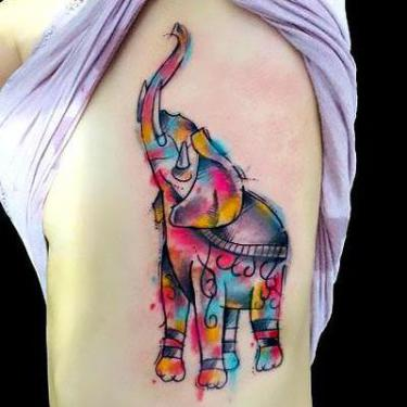 Amazing Elephant on Side Tattoo