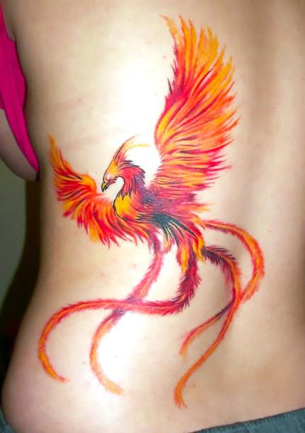Sexy Orange Phoenix Tattoo Idea