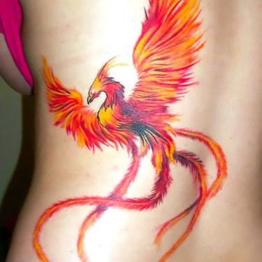 Sexy Orange Phoenix Tattoo