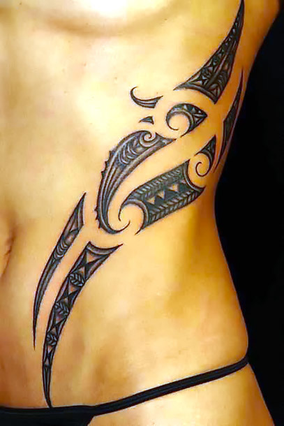 Sexy Tribal Maori Waist Tattoo Idea