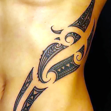 Sexy Tribal Maori Waist Tattoo