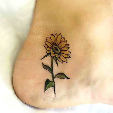 Side of Heel Sunflower Tattoo