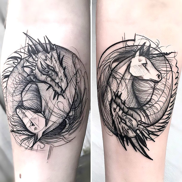 Sketch Dragon and Horse Tattoo Tattoo Idea