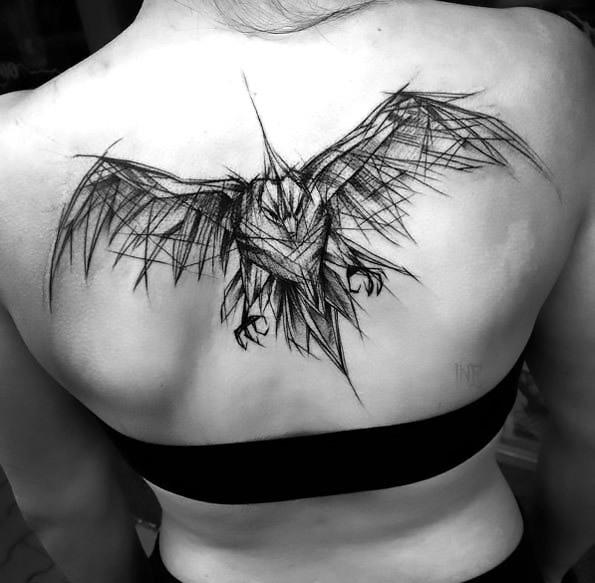 Sketch Style Bird Tattoo on Back Tattoo Idea