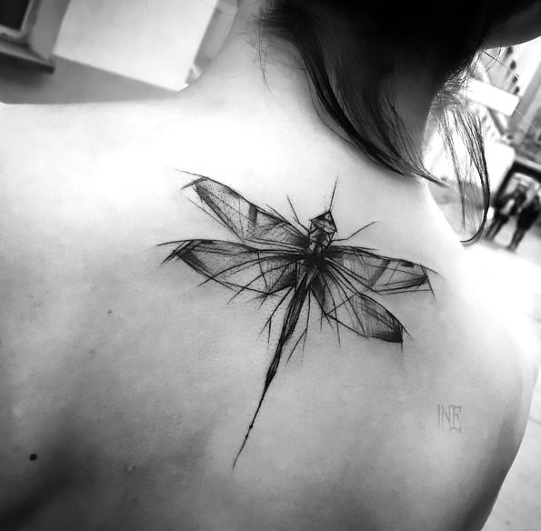Sketch Style Dragonfly Tattoo Idea