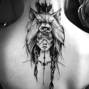 Sketch Style Indian Girl Tattoo