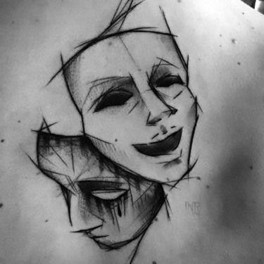 Sketch Style Mask Tattoo