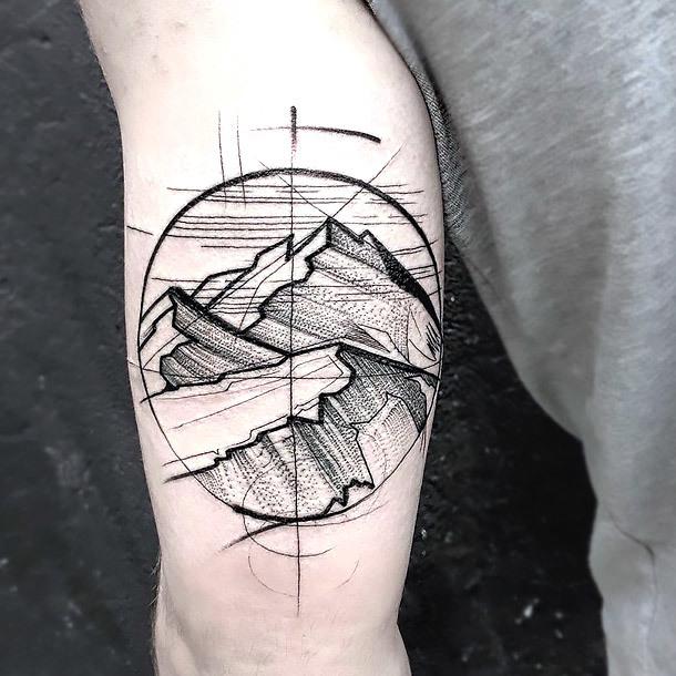 Sketch Style Mountains Tattoo Idea