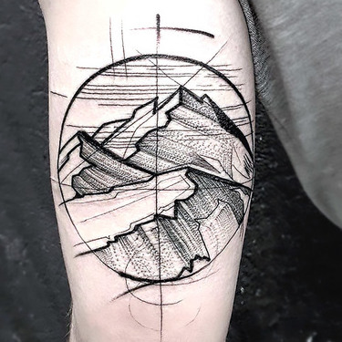 Sketch Style Mountains Tattoo