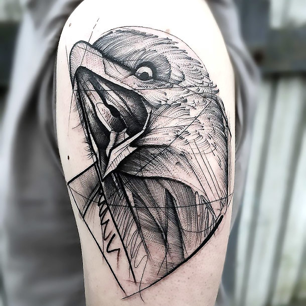 Sketchy Raven Tattoo on Shoulder Tattoo Idea