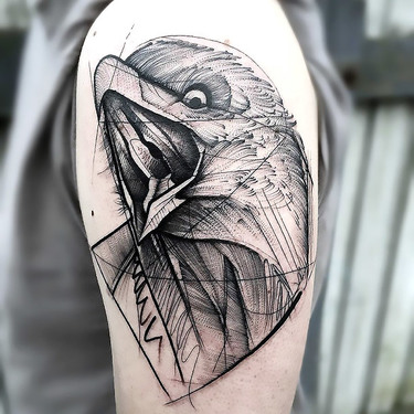 Sketchy Raven Tattoo on Shoulder Tattoo
