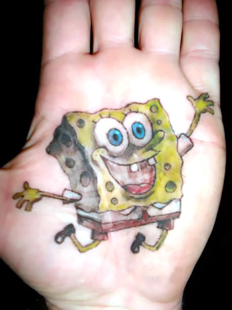 Spongebob Tattoo on Palm Tattoo Idea