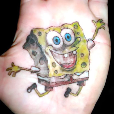 Spongebob Tattoo on Palm Tattoo