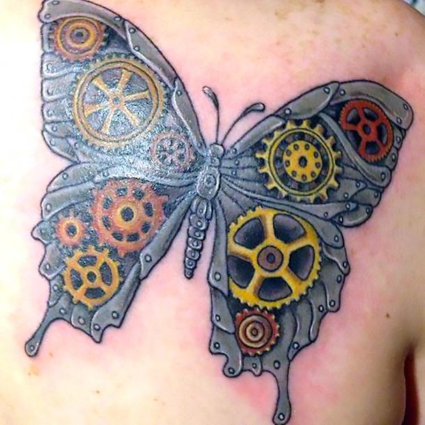 Steampunk Butterfly Tattoo Idea