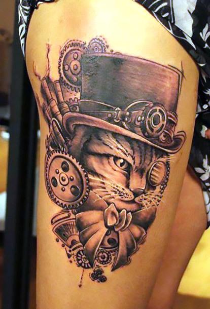 Steampunk Cat Tattoo Idea