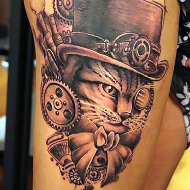 Steampunk Cat Tattoo