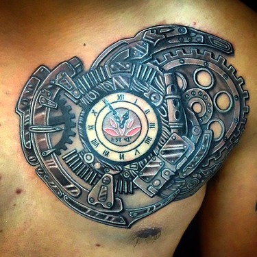 Steampunk Clock Tattoo on Chest Tattoo