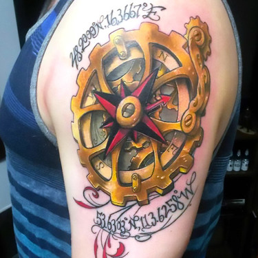 Steampunk Compass Gears Tattoo