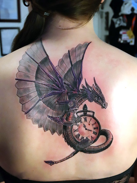 Steampunk Dragon Tattoo on Back Tattoo Idea