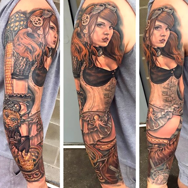 Steampunk Girl Sleeve Tattoo Idea