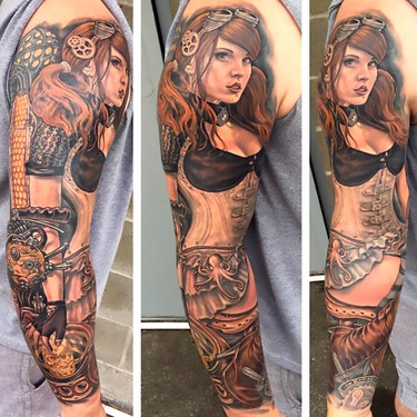 Steampunk Girl Sleeve Tattoo