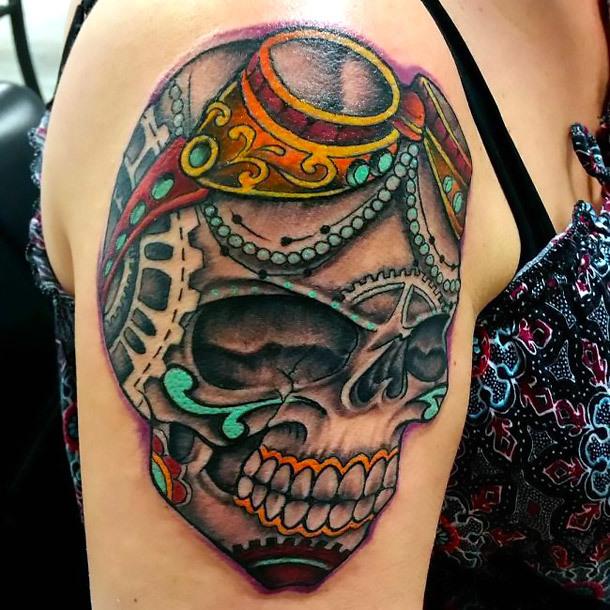 Steampunk Skull Tattoo Idea