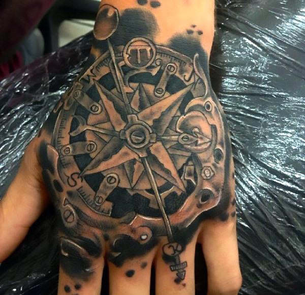 Steampunk Tattoo on Hand for Men Tattoo Idea