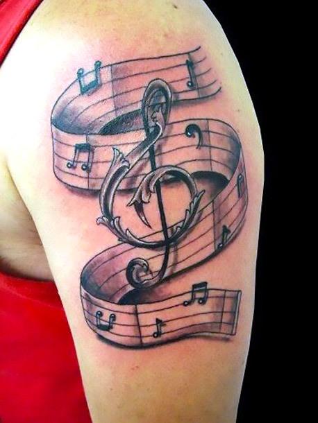 Treble Clef and Notes Tattoo Idea