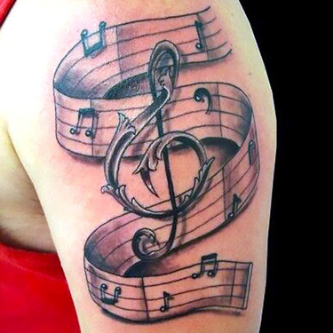 Treble Clef and Notes Tattoo