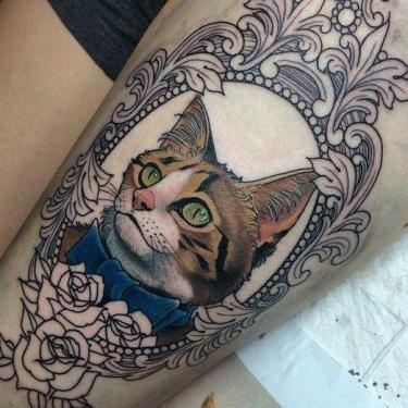 Amazing Cat Portrait Tattoo