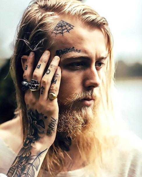 Spider Web Tattoo on forehead Tattoo Idea