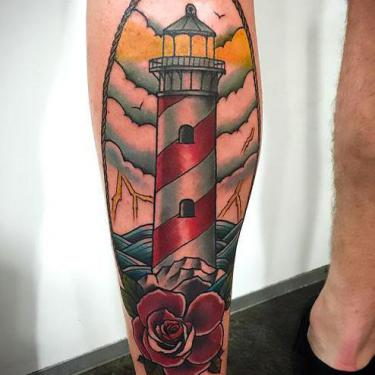 Beacon on Calf Tattoo